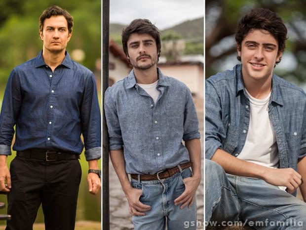 Laerte nas três fases: Gabriel Braga Nunes, Guilherme Leicam e Eike Duarte (Foto: João Miguel Júnior/Inácio Moraes/TV Globo)