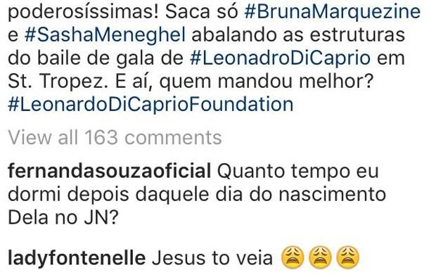 Fernanda Souza e Antonia Fontenelle comentam foto com Marquezine e Sasha (Foto: Reprodução/Instagram)