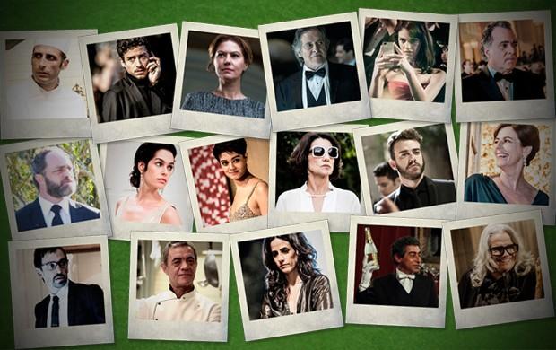 Os 17 suspeitos indicados pelo autor da novela (Foto: O Rebu/TV Globo)