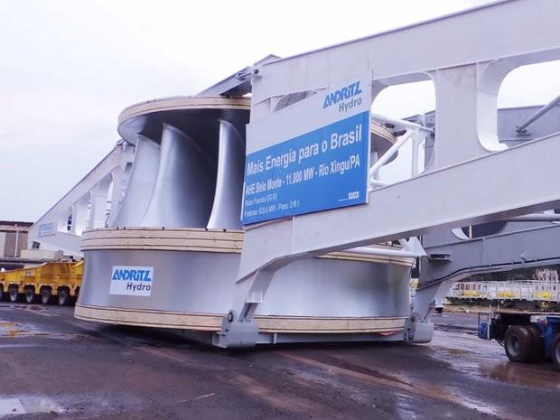 Equipamento de usina hidrelétrica é transportado pela Rodovia dos Bandeirantes (Foto: Divulgação/Transdata)