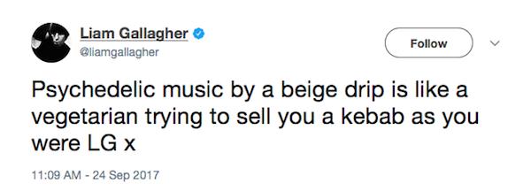 A piada de Liam Gallagher com o irmão, Noel (Foto: Twitter)