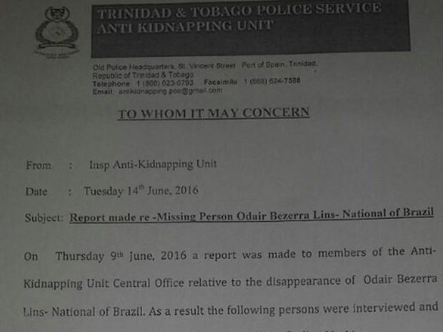 Documento é da polícia de Trinidad e Tobago (Foto: Reprodução / TV TEM)