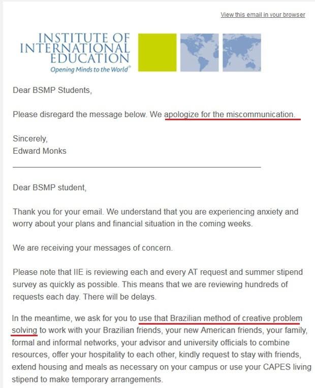 E-mail do diretor do instituto pede desculpas pela mensagem anterior que falava em solução criativa de problemas dos brasileiros (Foto: Reprodução)