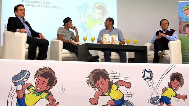 Neymar no evento do lançamento da revistinha em quadrinhos Mauricio de souza (Foto: Lincoln Chaves)