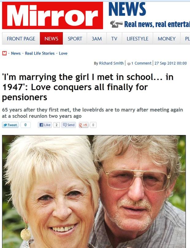 Casal se conheceu na escola em  1947 e, 65 anos depois, finalmente haverá o casamento.  (Foto: Reprodução)