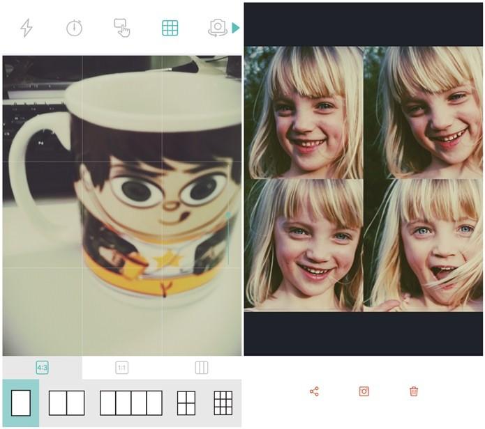O Retrica e o Candy Camera permite criar colagens de fotos (Foto: Reprodução/Lívia Dâmaso)