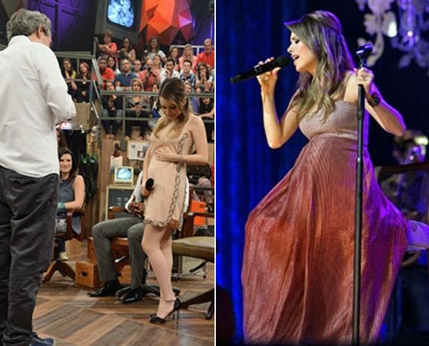 Sandy grávida de Theo no Altas Horas e em seu show (Foto: TV Globo / Divulgação)