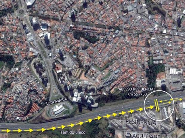 Marginal vai ter sentido único da avenida Jundiaí para Faculdade Padre Anchieta (Foto: Divulgação)