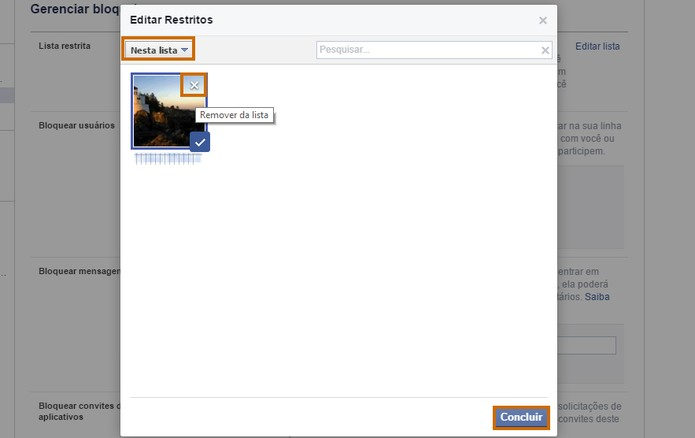 Se quiser é possível remover os contatos da lista de restritos no Facebook (Foto: Reprodução/Barbara Mannara)