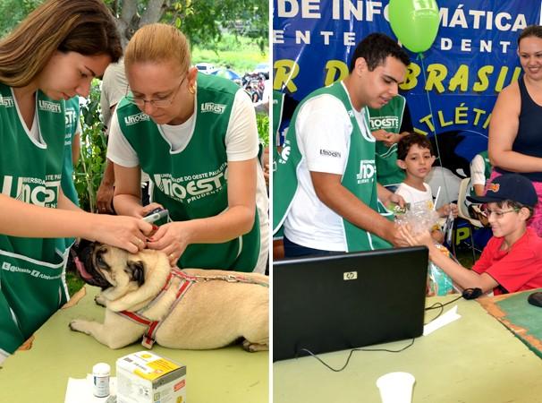 Equipes da Unoeste prestaram atendimentos de saúde e realizaram um quiz animal (Foto: Marketing / TV Fronteira)
