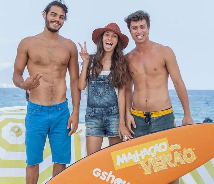 Enzo, Marina e Francisco animados com o encontro! (Foto: Artur Meninea/Gshow)
