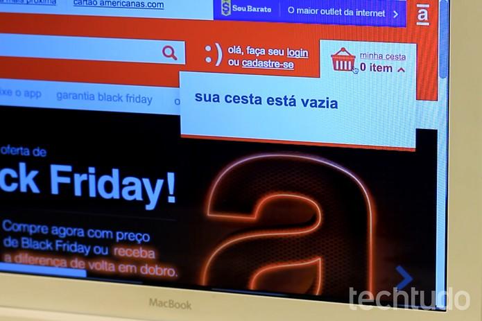 Carrinho de compras Americanas - Black Friday (Foto: Luana Marfim/TechTudo)