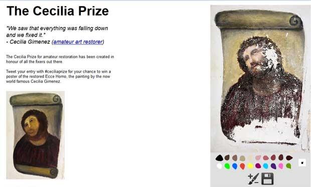 Página 'The Cecilia Prize' permite que internautas recriem suas versões para a 'pior restauração do mundo' (Foto: Reprodução)