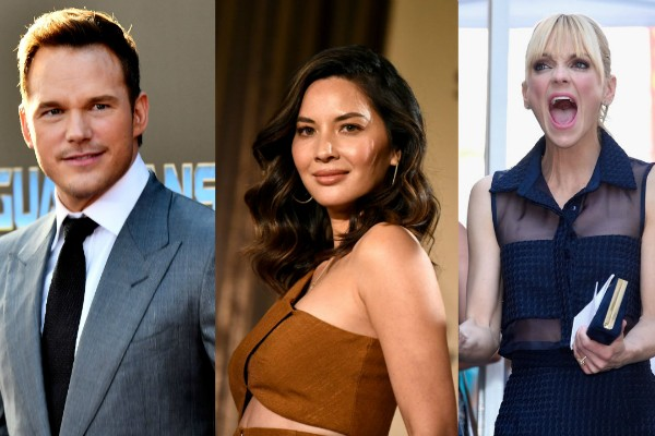 Chris Pratt, Olivia Munn e Anna Farris (Foto: Getty Images)