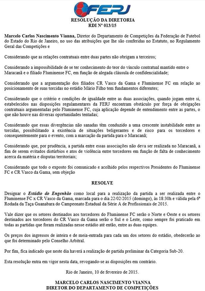 Documento FERJ (Foto: Reprodução)