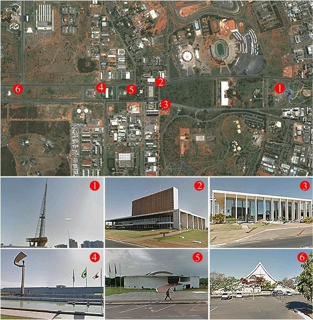 1-Torre de TV; 2-Palácio do Buriti; 3-Tribuna de Contas do Distrito Federal; 4-Memorial JK; 5-Memorial dos Povos Indígenas; 6-Catedral Militar Rainha da Paz. (Foto: Reprodução)