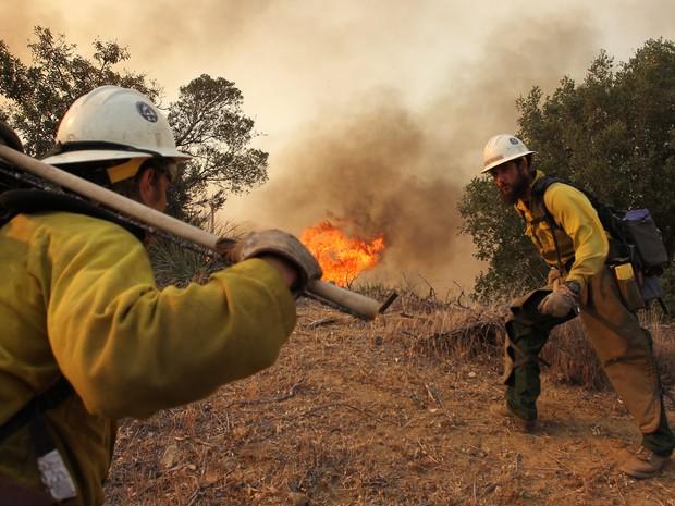 Mais de mil bombeiros combatem as chamas na Califórnia; fogo se alastrou por 73 km² nesta sexta-feira (3), segundo a AFP. (Foto: David McNew / Getty Images / AFP)