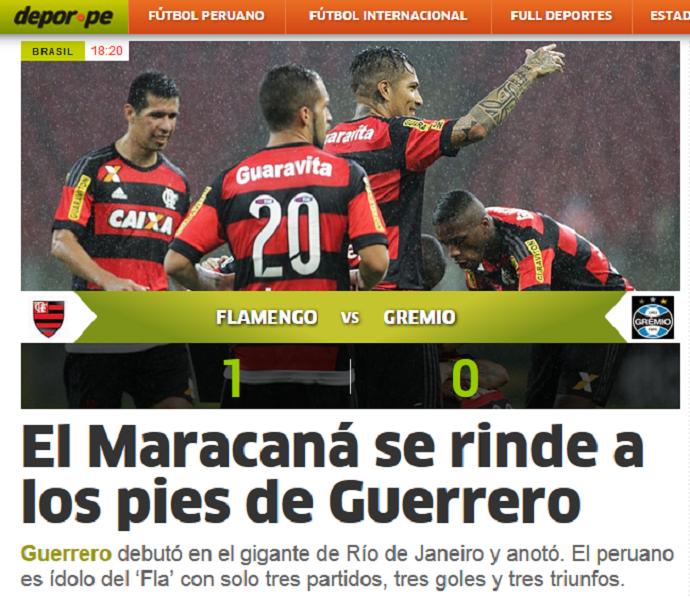 jornais peruanos - Guerrero Flamengo x Grêmio