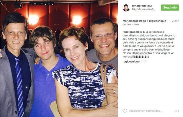 Renato Rabelo lamenta morte de Duda Ribeiro (Foto: Reprodução / Instagram)