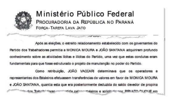 Documento com o trecho da denúncia contra João Santana e Mônica Moura (Foto: Reprodução)