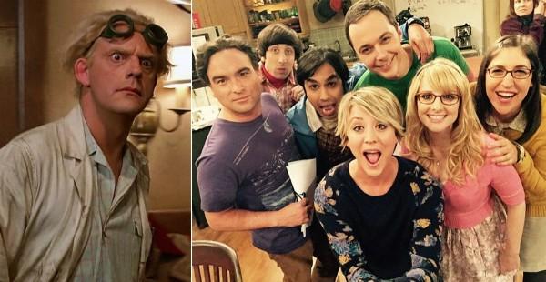 O ator Christopher Lloyd e o elenco de 'The Big Bang Theory' (Foto: Reprodução/Instagram)