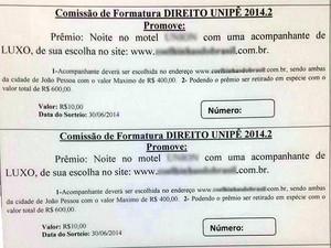 Delegacia da Mulher investiga rifa de acompanhante de luxo na Paraíba (Foto: Reprodução/Whatsapp)