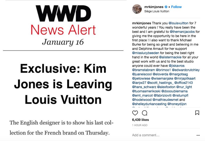 Kim Jones se despede da marca com carinho nas redes sociais (Foto: reprodução/instagram)