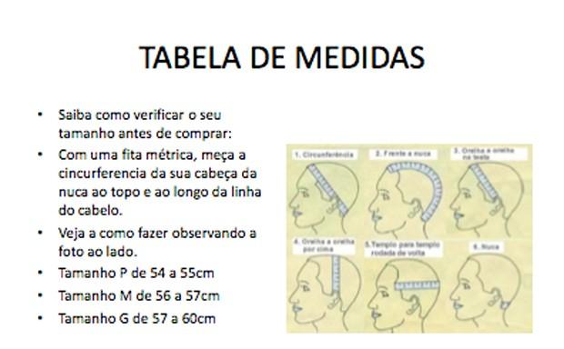 Guia de medidas para perucas (Foto: Divulgação)