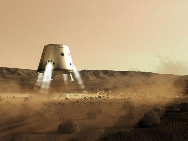 Ilustração mostra um futuro pouso da Mars One no planeta vermelho (Foto: AFP)