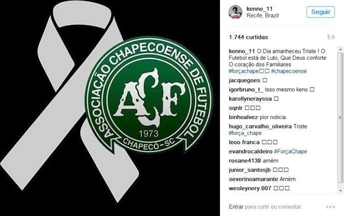 Keno Santa Cruz Chapecoense tragédia (Foto: Reprodução)