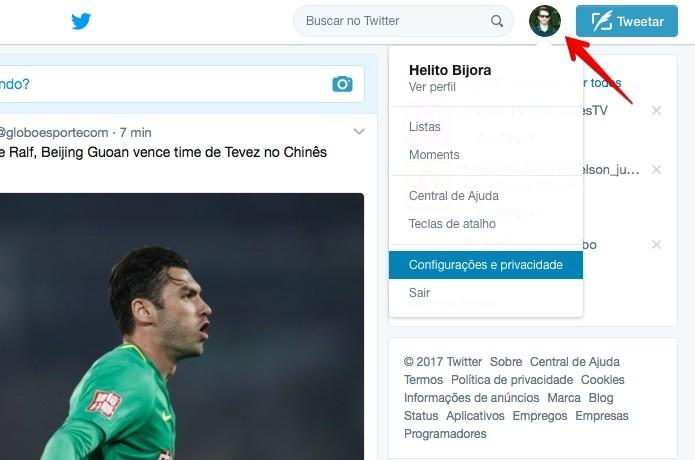 Acesse as configurações do Twitter (Foto: Reprodução/Helito Bijora)