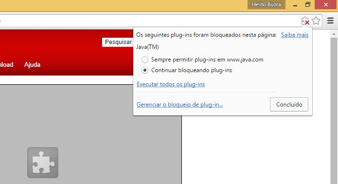 Permita a execução do plugin pelo navegador (Foto: Reprodução/Helito Bijora)