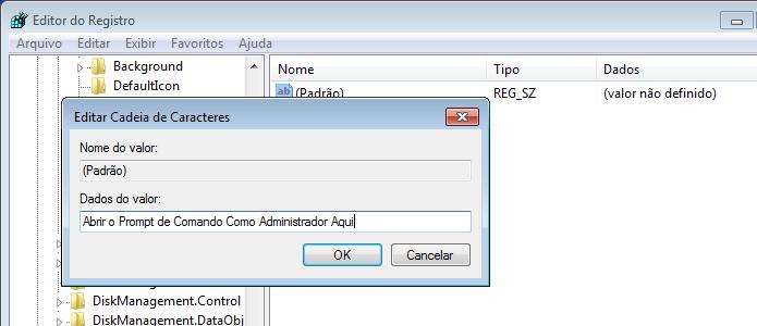 Colocando o titulo da opção do menu de contexto do Windows (Foto: Reprodução/Edivaldo Brito)