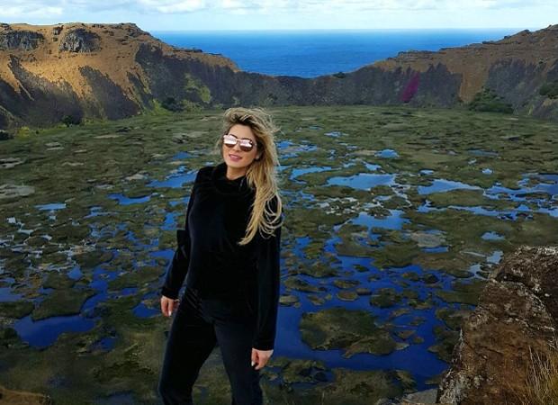 Lívia Andrade conhece a região do Vulcão Rano Kau (Foto: Reprodução/Instagram)