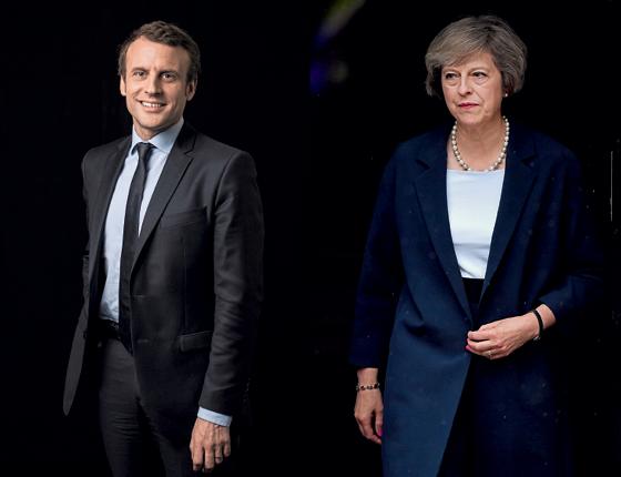 EM LADOS OPOSTOS Emmanuel Macron e Theresa May. Esperança na França e dúvida na Inglaterra (Foto: Eric Feferberg/AFP, Jeff J Mitchell/Getty Images)