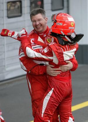 Ross Brawn e Michael Schumacher no GP da Europa de F1, em 2007 (Foto: Reprodução)