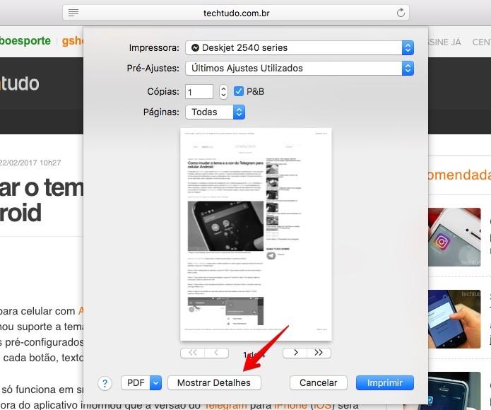 Configurando opções de impressão (Foto: Reprodução/Helito Bijora)