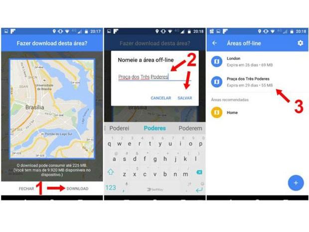 """1) App alertará sobre espaço; 2) Nomeie o arquivo; 3) Mapas ficam no menu """"Áreas off-line""""  (Foto: Google)"""