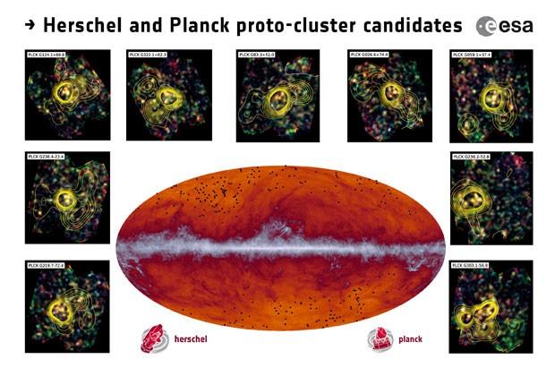 No mapa da Via Láctea, os pontos pretos indicam a localização de candidatas a protoclusters (Foto: ESA/Planck)