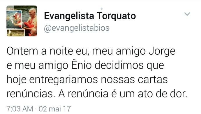 Evangelista Torquato (Foto: Reprodução Twitter/Evangelista Torquato)