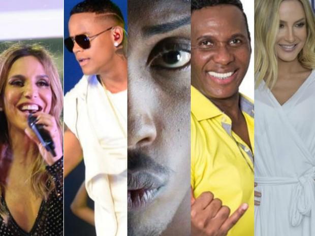 Ivete, Léo, Mc Beijinho, É o Tchan e Claudia Leitte lançaram músicas (Foto: Arte / G1)