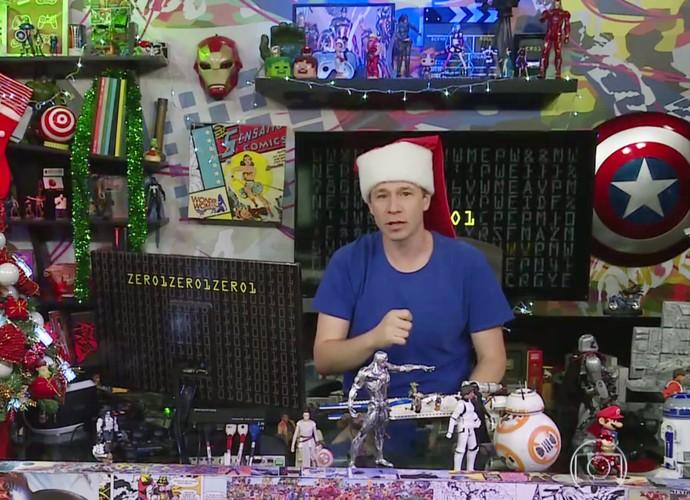 Tiago Leifert se vestiu de Papai Noel no 'Zero1' (Foto: TV Globo)