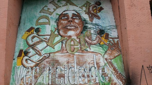 """""""Ver a cidade"""" é uma obra do grafiteiro Moura (Foto: Charles Humpreys/BBC)"""