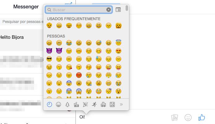 Inserindo um emoji na conversa (Foto: Reprodução/Helito Bijora)