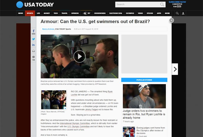 Colunista Nancy Armour, do jornal americano 'USA Today', defendeu os nadadores americanos; 'Será que os Estados Unidos conseguem tirar os nadadadores do Brasil?'