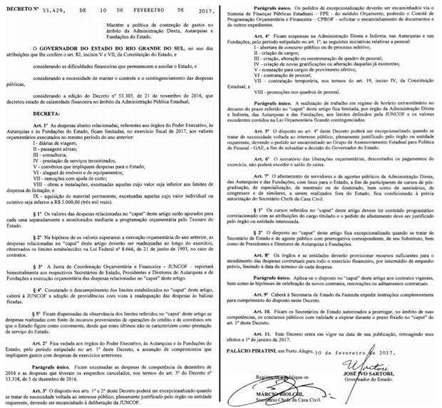 Decreto foi publicado do Diário Oficial do RS nesta segunda-feira (13) (Foto: Reprodução/DOE-RS)