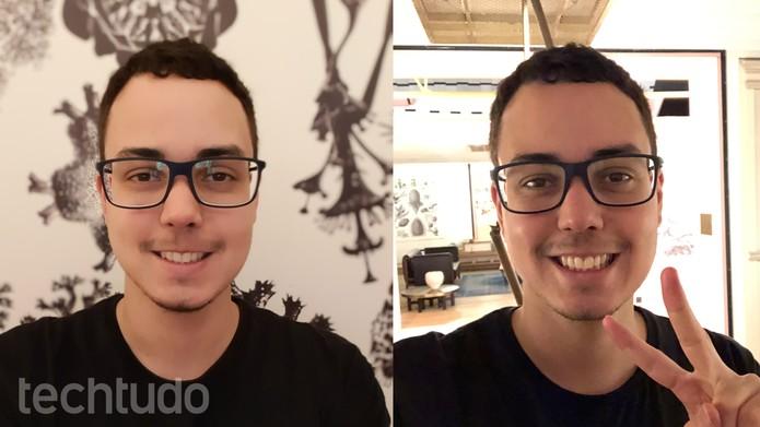 Selfies feitas com iPhone 8 em ambiente iluminado (esq.) e contra a luz (dir.) (Foto: Thássius Veloso/TechTudo)