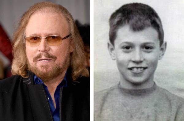 O músico dos Bee Gees, Barry Gibb, hoje aos 70 anos, e durante a infância (Foto: Getty Images/Reprodução)