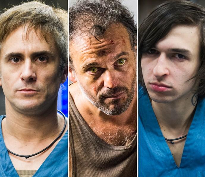 Nando, José Augusto e Dante foram contaminados pela doença misteriosa (Foto: TV Globo)