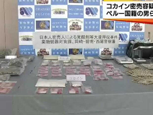 Polícia japonesa apreendeu drogas e dinheiro em abril do ano passado (Foto: Reprodução/CBC TV )